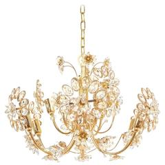 Palwa Flower Chandelier Gilt Brass and Glass, Germany 1970