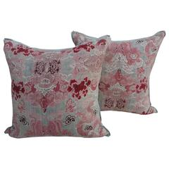 Pair of Chinoiserie Printed Cotton Pillows