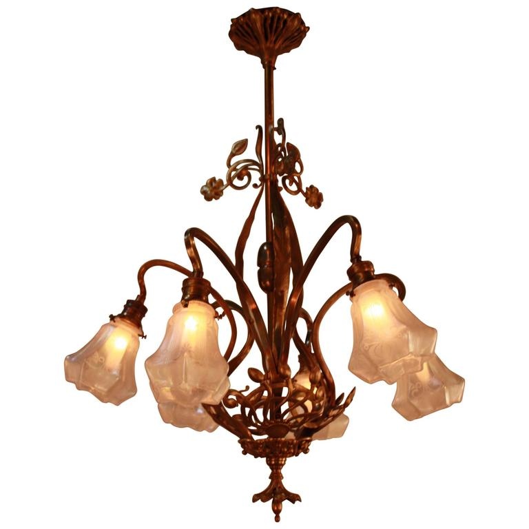 French art nouveau bronze and art glass chandelier for for Chandelier art nouveau