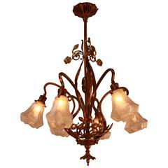 French Art Nouveau Bronze and Art Glass Chandelier