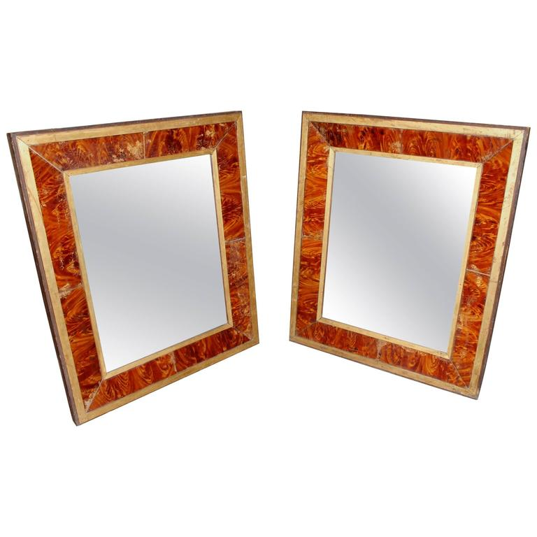 Pair of 19th Century Églomisé Faux Wood Grain Frames with Mirrors