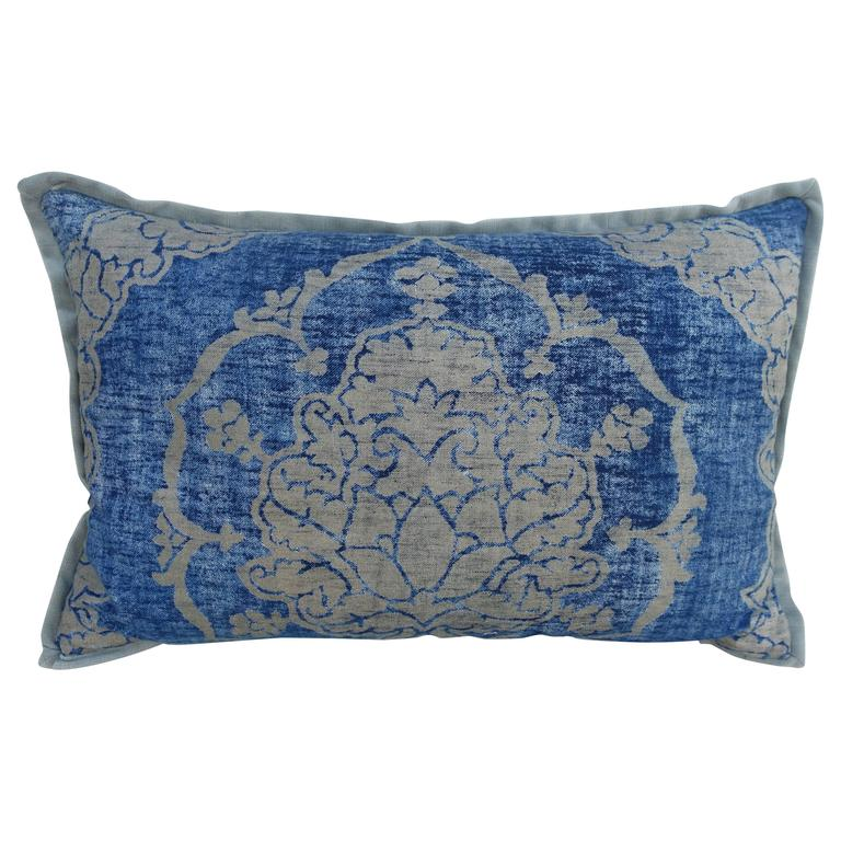Blue and Gray Vintage Fortuny Textile Pillow For Sale