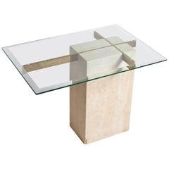 Travertine Side Table Attributed to Giovanni Offredi