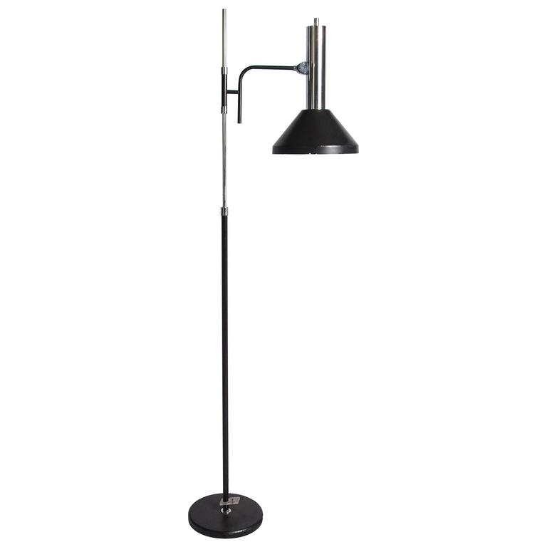 Black and chrome adjustable floor lamp for sale at 1stdibs for Mayer floor lamp black chrome