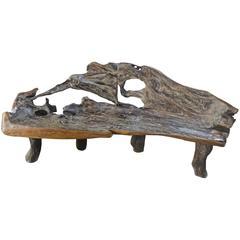 Single Burnt Organic Teak Wood Bench