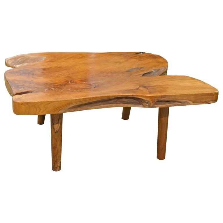 Teak Coffee Table And End Tables: Mid-Century Style Organic Teak Wood Coffee Table Or Side