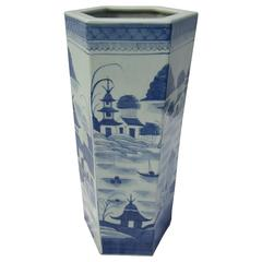 Octagonal Blue and White Umbrella Stand