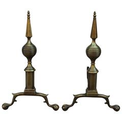 1940s Art Deco Brass Andirons