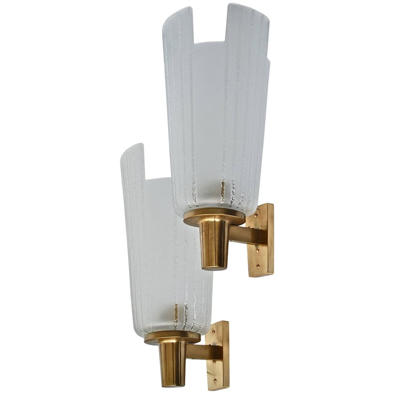 Pair of Large Swedish Art Deco Wall Lights, circa 1940 For Sale