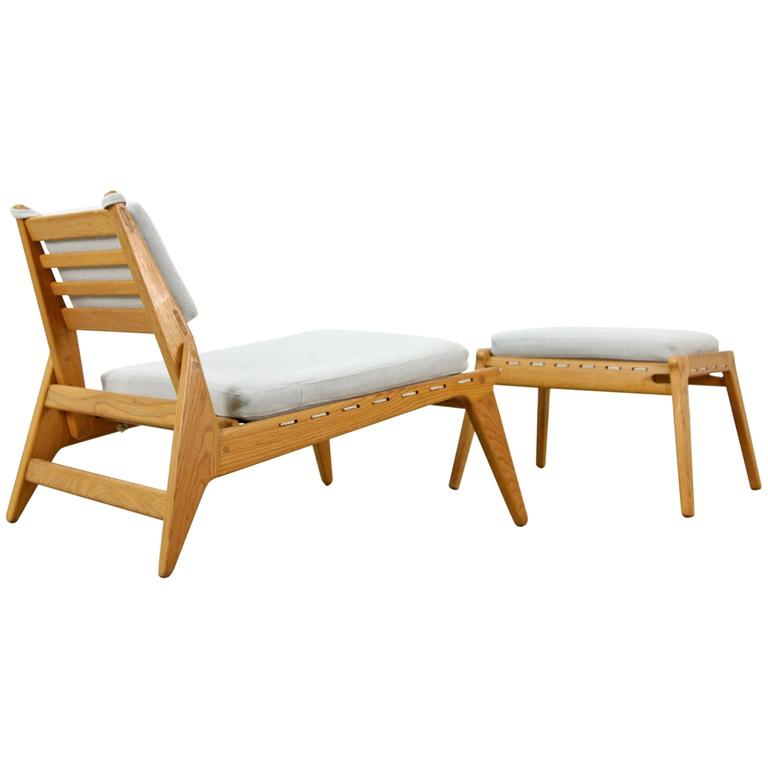 "Mid-Century Modern ""Hunting Group"" Made of Oak - Lounge Chair and Ottoman  For Sale"
