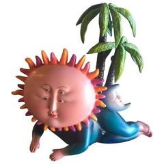Sun God Ceramic Sculpture by Sergio Bustamante