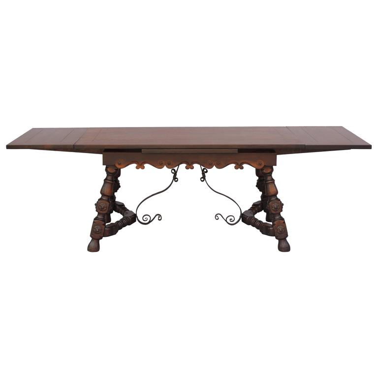1920s spanish revival trestle dining room table with