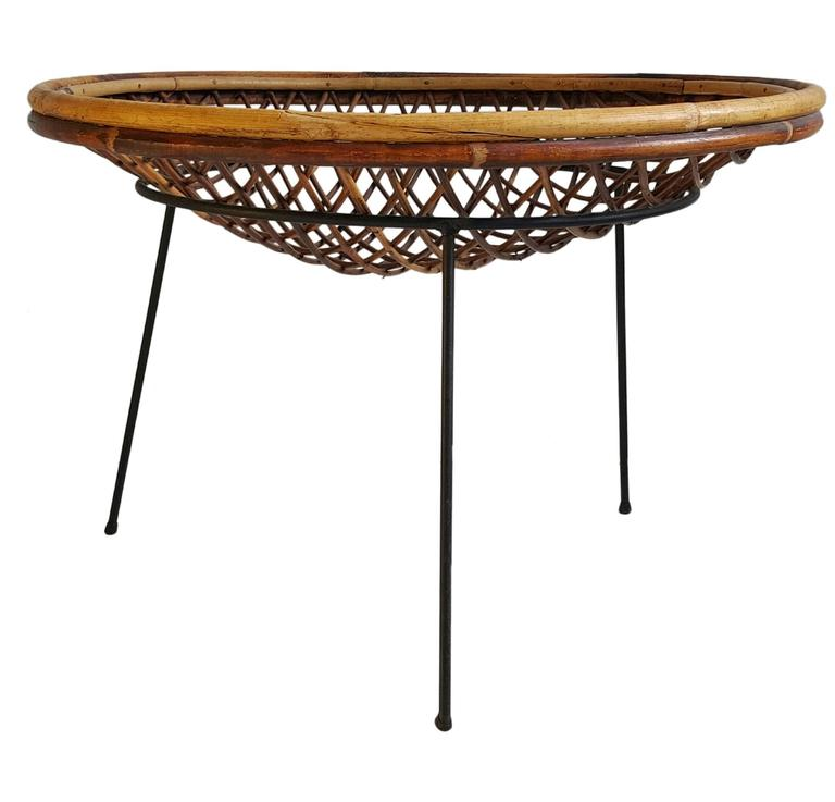 Modernist Split Reed and Iron Catch All Table by Arthur Umanoff