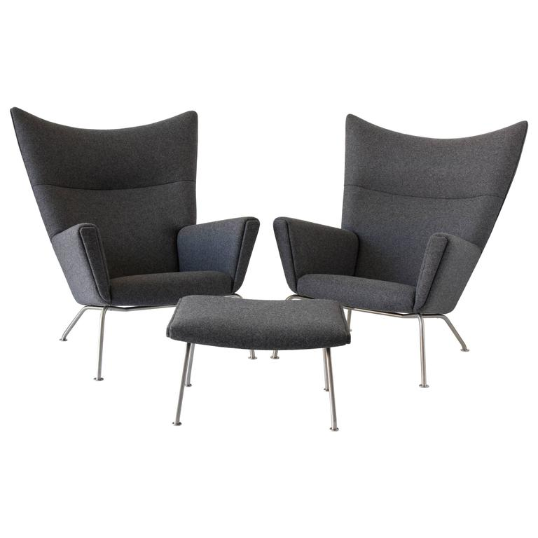Pair of Hans Wegner CH445 Wingback Chairs with CH446