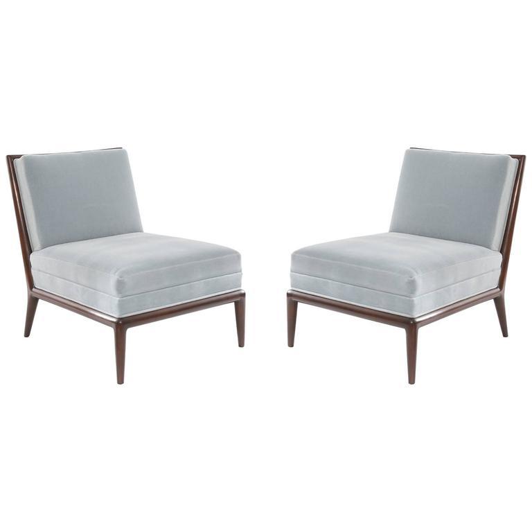 Walnut and Mohair Slipper Chair
