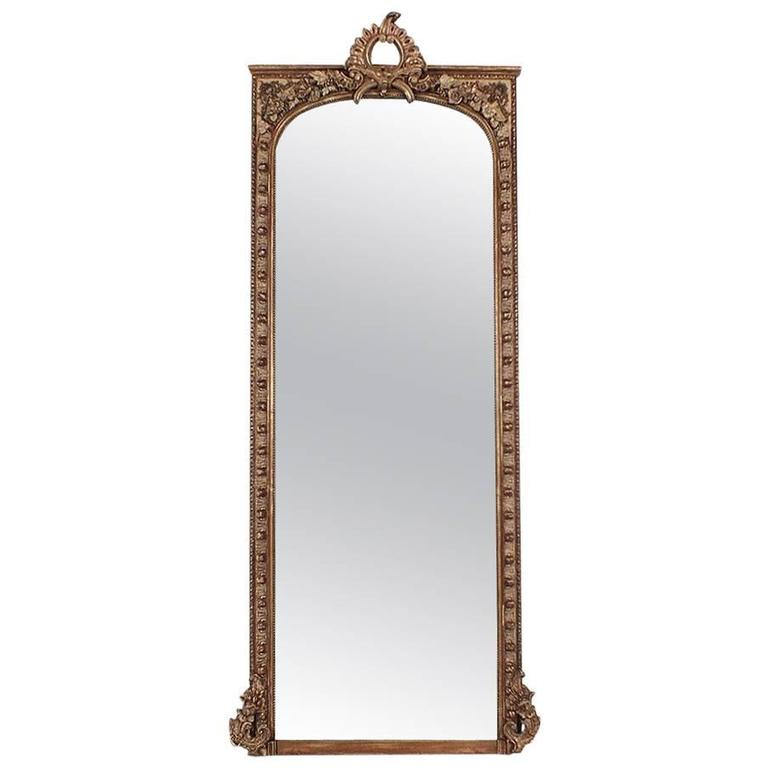 Large french antique louis xv style mirror at 1stdibs for Vintage floor length mirror