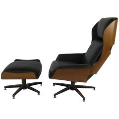 "Rare Ultra Mod Walnut Plycraft ""Mister"" Lounge Chair and Ottoman"