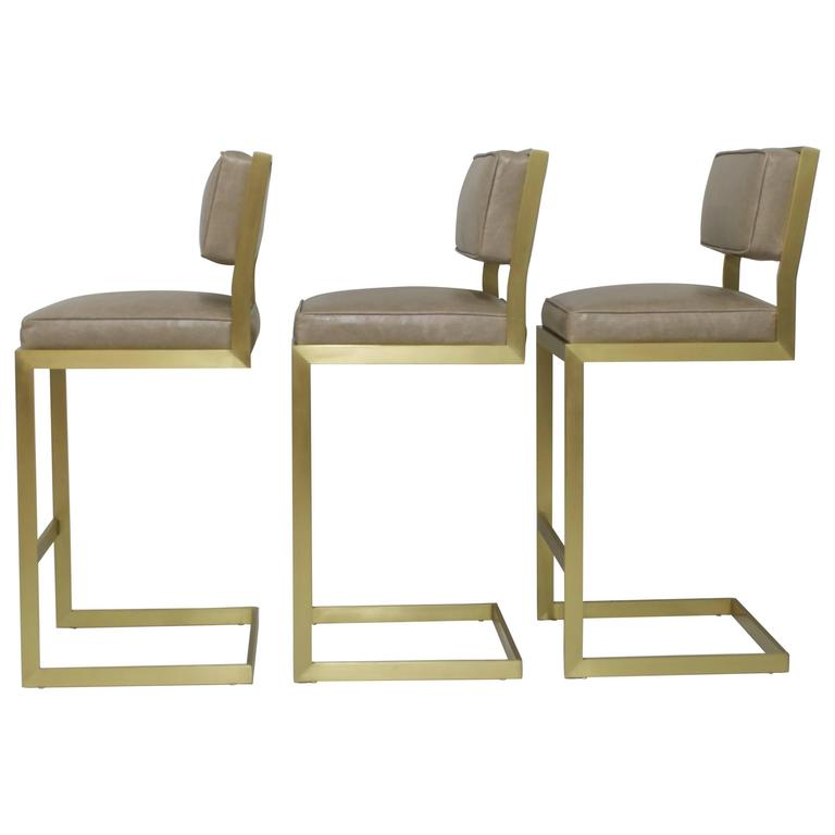 Set of Three Brushed Brass Bar Height Barstools in Leather