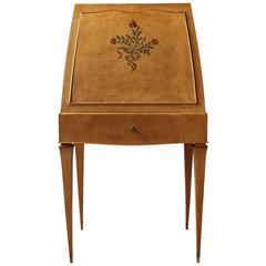 Fine French Art Deco Sycamore Secretary by Batistin Spade