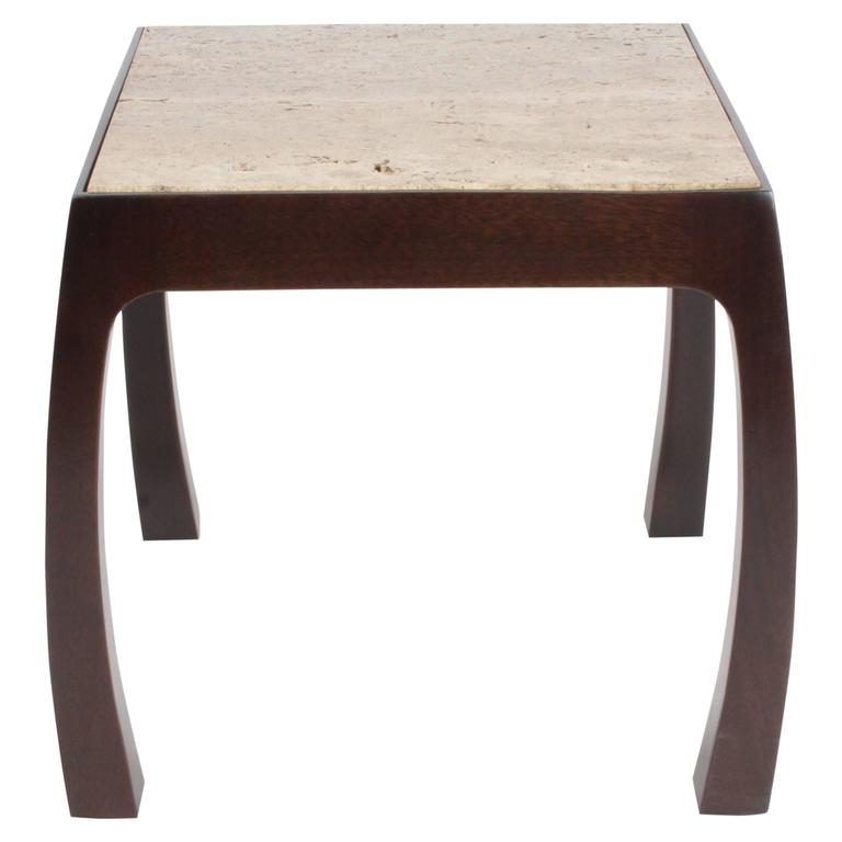Harvey Probber Asian Style Side Table with Dark Travertine Top