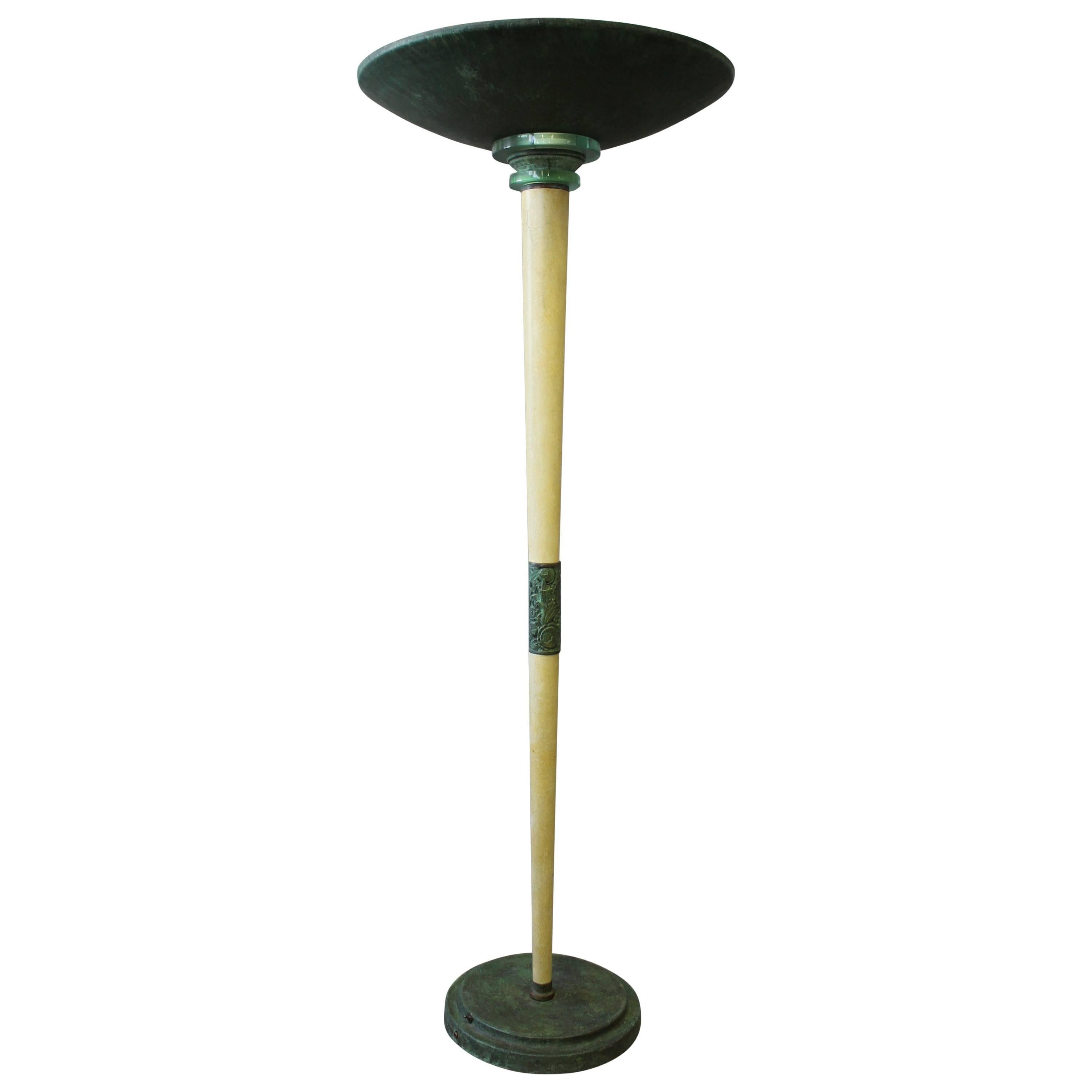 A Large Fine French Art Deco Patina Ed Wood And Metal Floor Lamp For At 1stdibs