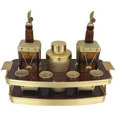 1960s Mid-Century Burl and Gold Cocktail Bar Set