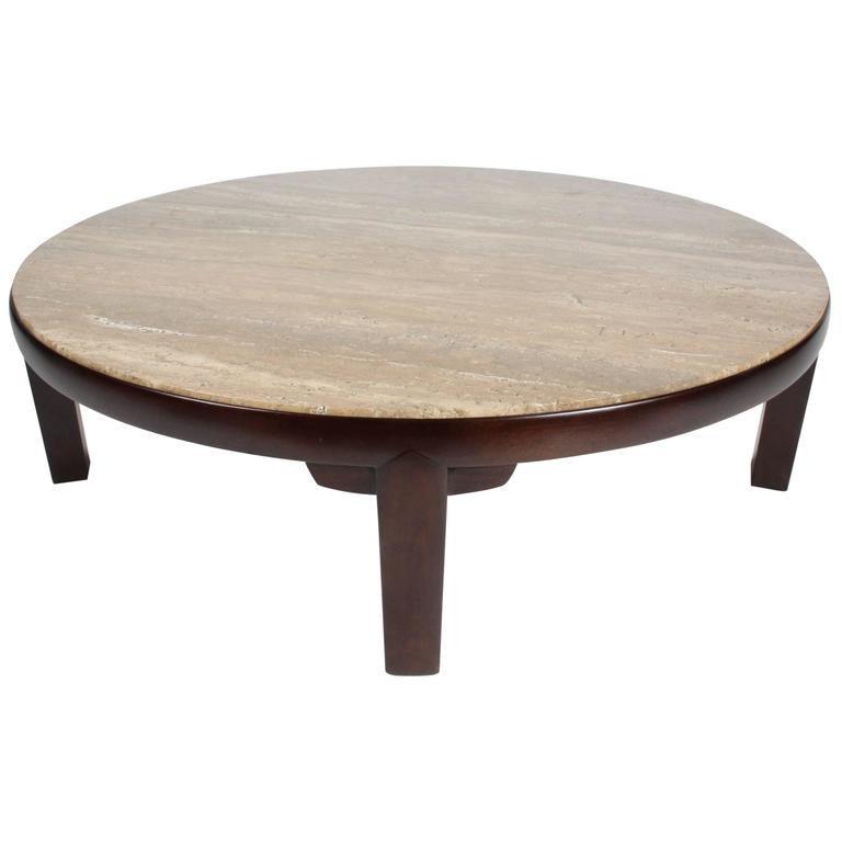 Large Edward Wormley For Dunbar Round Coffee Table With Walnut Roman Travertine For Sale At 1stdibs