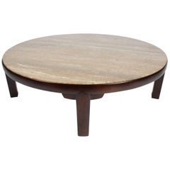 Large Edward Wormley for Dunbar Round Coffee Table with Walnut Roman Travertine