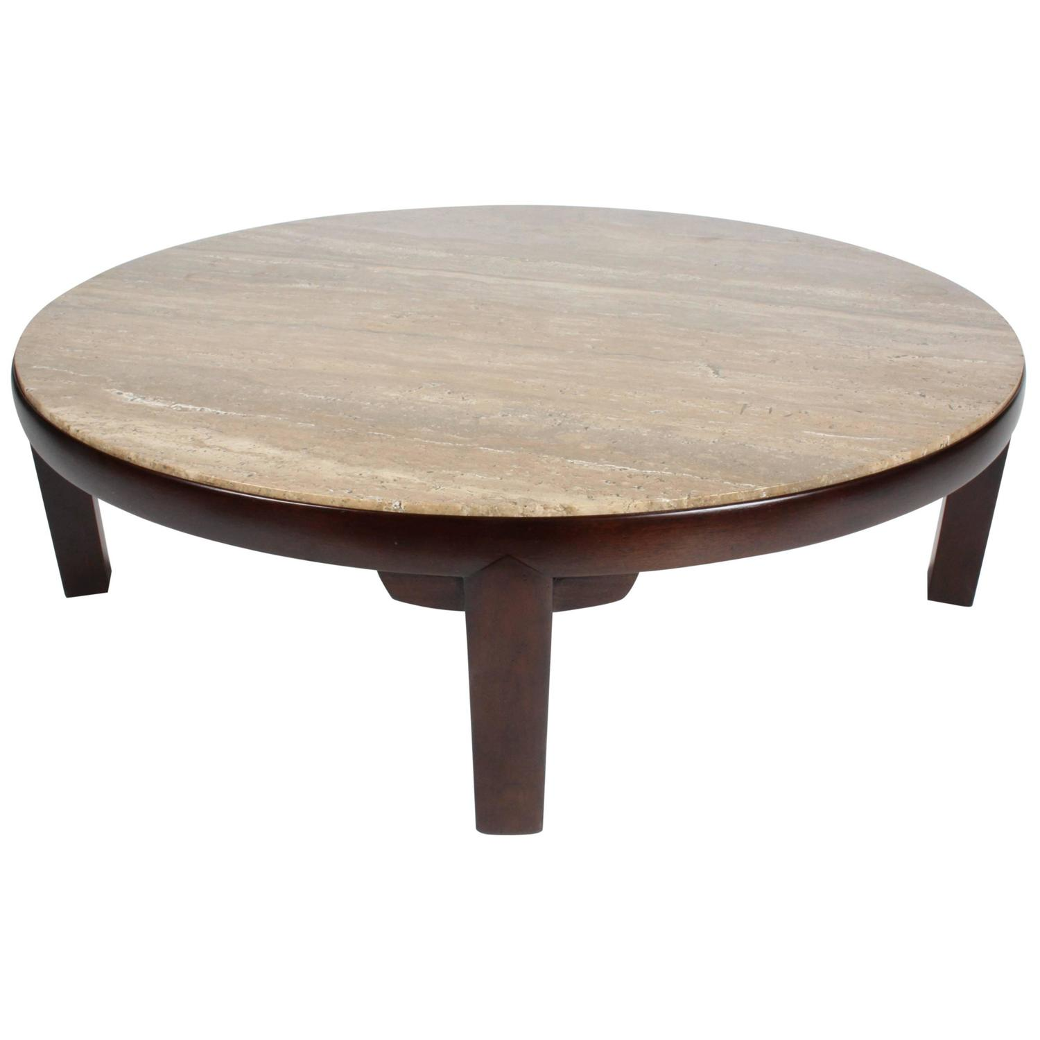 Edward Wormley for Dunbar Round Coffee Table with Walnut
