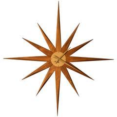 Mid-Century Walnut Starburst Clock