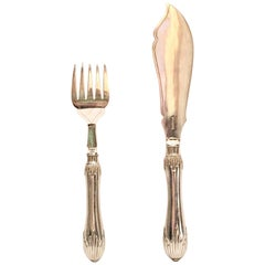 1920'S Art Deco Sheffield Silver Plate Fish Serving Fork & Knife S/2