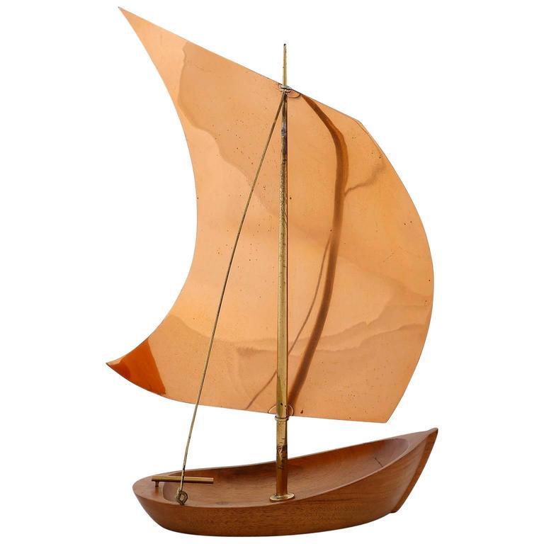 Franz Hagenauer Sailing Boat Ship, Wood Copper Brass, Austria, 1950