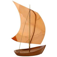 Franz Hagenauer Sailing Boat Ship, Wood Copper Brass, Austria, 1950