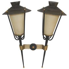 Mid-Century Double Arm Arlus Wall Lights, France