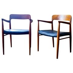 Niels Moller Model 75 Armchairs Teak and Leather, Danish, 1950s