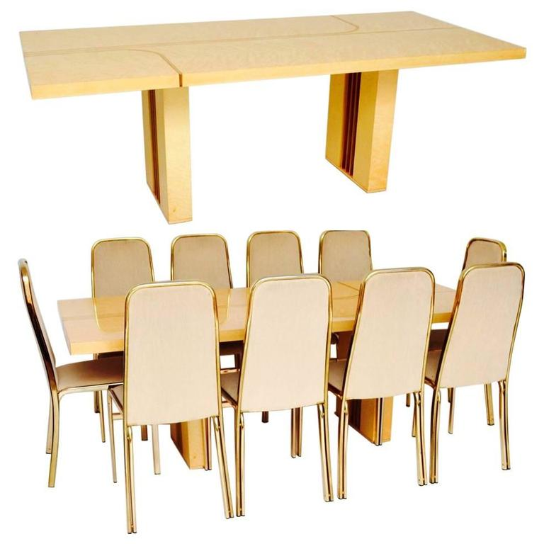 Retro Italian Maple And Brass Dining Table Chairs By Zevi Vintage 1970s For Sale