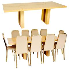Retro Italian Maple and Brass Dining Table and Chairs by Zevi Vintage, 1970s