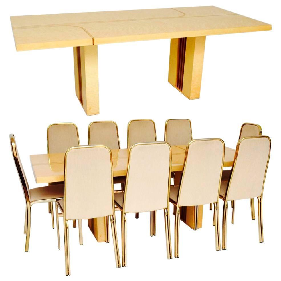 Bamboo dining table set - Retro Italian Maple And Brass Dining Table And Chairs By Zevi Vintage 1970s