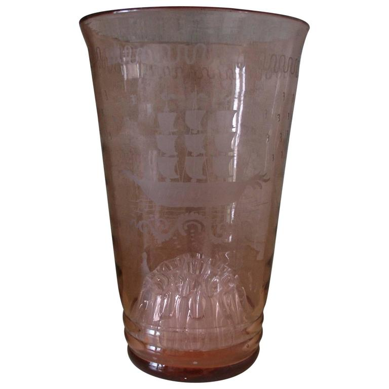 Tall Pink 1920s Glass Vase With Hand Etchedengraved Ships Detail