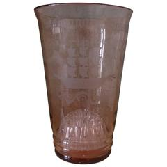 Tall Pink 1920s Glass Vase with Hand Etched/Engraved Ships Detail
