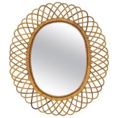 Italian Riviera Rattan Mirror in the Manner of Franco Albini, 1960s