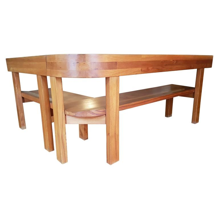 Pair of Benches Round S 35 Pierre Chapo in French Elm, 1970