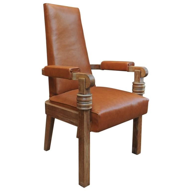 Charles Dudouyt Leather And Oak French Armchair, Circa 1940 1