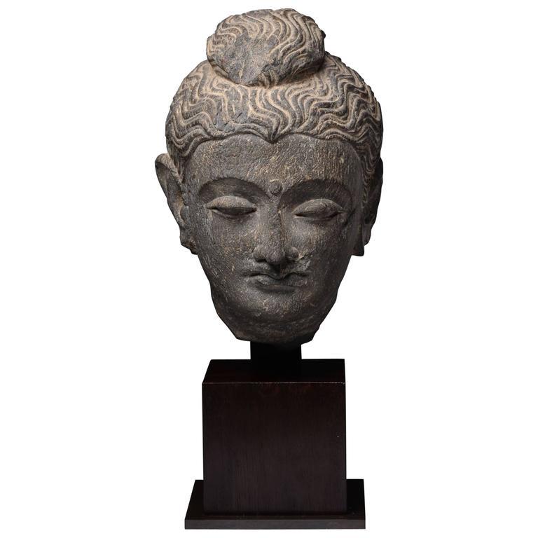Gandharan Schist Stone Head of Buddha, 250 AD For Sale