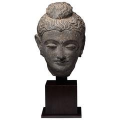 Gandharan Schist Stone Head of Buddha, 250 AD