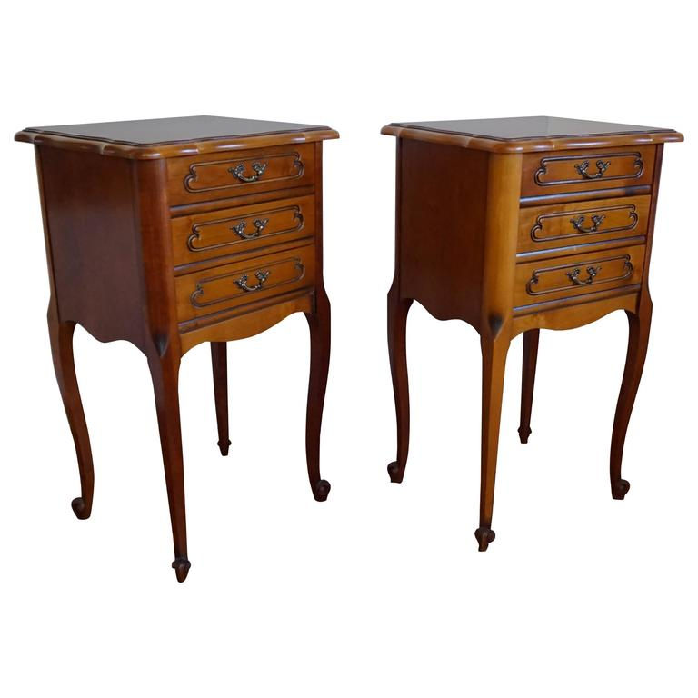 20th Century Louis Seize 16 Style Cherry Bedside Tables Cabinets with  Drawers 1 - 20th Century Louis Seize 16 Style Cherry Bedside Tables Cabinets