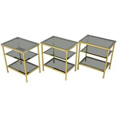 Maison Bagues, Set of Three Brass Side Tables