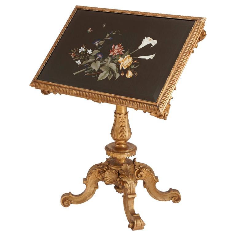 Fine Pietra Dura Inlaid Giltwood Tilt-Top Table