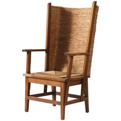 Scottish Orkney Chair with Woven Back and Oak Frame