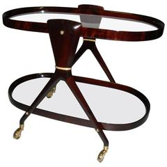 Mid-Century Mahogany Oval Serving Cart by Aldo Tura